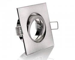 E44595 Alu Einbaustrahler silber gebürstet eckig 12V / 230V Klickverschluss