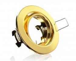 E44063 Einbaustrahler Gold Messing rund schwenkbar 12V/230V