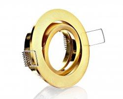E44573 Einbaustrahler Gold Messing rund schwenkbar Klickverschluss