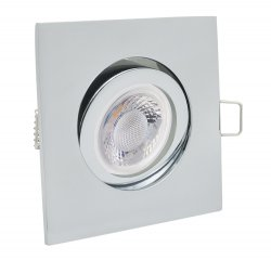 LED Einbaustrahler Set 5W chrom glänzend eckig 230V dimmbar