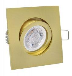 LED Einbaustrahler Set 5W Messing Gold eckig 230V dimmbar