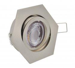 LED Einbaustrahler Set 5W gebürstet sechseckig 230V dimmbar