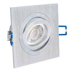 LED Einbaustrahler flach 5W Alu gebürstet eckig 230V dimmbar