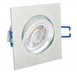 LED Einbaustrahler Set 5W Alu gebürstet eckig 230V dimmbar