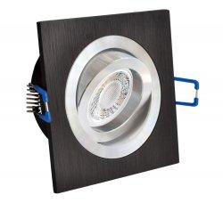 LED Einbaustrahler flach 5W Alu schwarz bicolor eckig 230V dimmbar