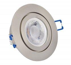 IP44 LED Einbaustrahler Set 5W gebürstet rund 230V dimmbar