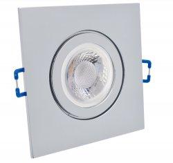 IP44 LED Einbaustrahler Set 5W GU10 chrom eckig 230V