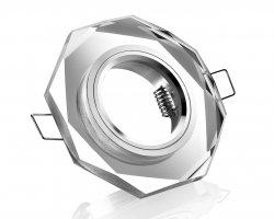 GU10 Einbaurahmen Glas Kristall Einbaustrahler klar 8-eckig 12V/230V