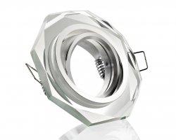 K23061-0 Kristall Einbaustrahler klar 8-eckig 12V / 230V schwenkbar