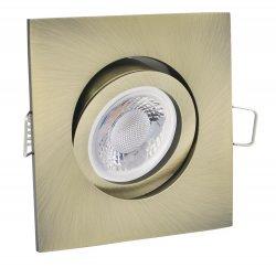 GU10 LED Einbaustrahler Set Einbauleuchte 5W altmessing eckig 230V
