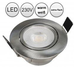 LED 5W Einbaustrahler Set Edelstahl gebürstet rund 230V