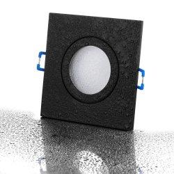 IP44 LED Einbaustrahler Set GU10 5W schwarz eckig 230V