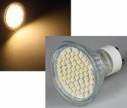 LED Strahler 2W GU10 54SMD warmweiß mit Schutzglas