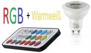 GU10 3W RGB+Warmweiß mit Memory Funktion inkl. Fernbedienung