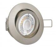 LED Einbaustrahler Set 5W Edelstahl-Gebürstet rund 230V dimmbar