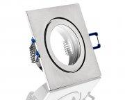 IP44 ALU Einbaustrahler silber gebürstet eckig für Badezimmer/Feuchtraum