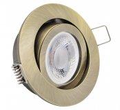 LED Einbaustrahler flach 5W Altmessing rund 230V dimmbar