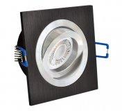 LED Einbaustrahler Set 5W Alu schwarz bicolor eckig 230V dimmbar