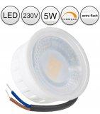 LED Aufbaustrahler Set 5W Alu weiß rund 230V dimmbar Aufputz