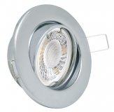 GU10 LED Einbaustrahler Set 5W Chrom glänzend rund 230V
