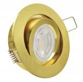 GU10 LED Einbaustrahler Set 5W Messing gold rund 230V Klickverschluss