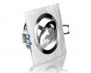 GU10 LED Einbaustrahler Set 5W Alu gebürstet bicolor eckig 230V